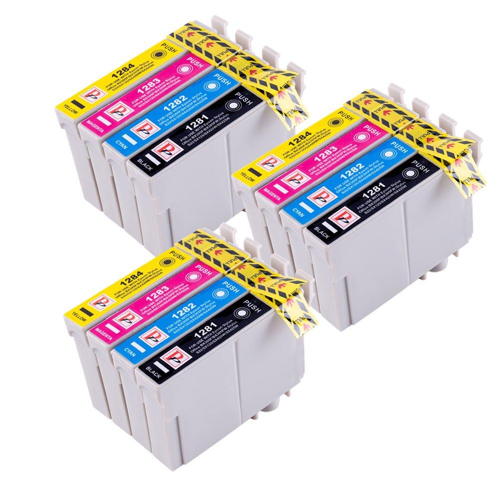 12 Cartucce di inchiostro compatibili per Epson Stylus S22 SX125 SX130 SX420W SX425W SX445W BX305F BX305FW SX230 SX235W SX445W SX435W SX430W SX438W SX440W Stampante. 3x T1281 Nero, 3x T1282 Ciano, 3x Magenta T1283, 3x T1284 Giallo PerfectPrint T1285