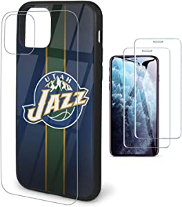 Phone Case for iPhone 11 Case with 2 Pcs Screen Protector-Tempered Glass Back Cover and Soft Frame [N B A] Team Cover Case 6.1'' Design for iPhone 11 Case - Jazz
