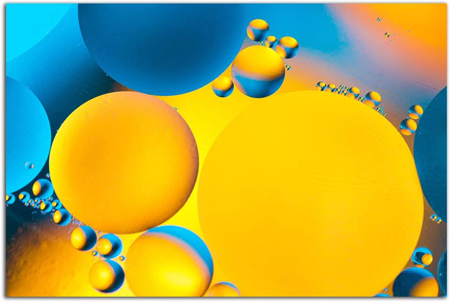 Startonight Glass Wall Art - Yellow and Blue Spheres Decor - Tempered Acrylic Glass Artwork 24 x 36 Inches