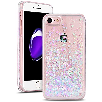 SMART LEGEND Funda iPhone 7 Transparente Diseño Purpurina ...