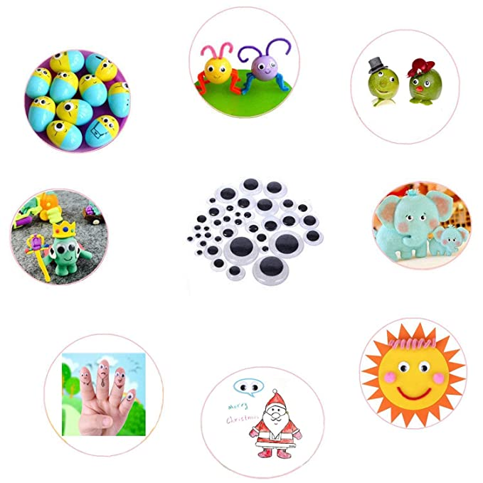 4 Pieces 7 Inch Giant Googly Eyes Self Adhesive Wiggle Eyes for Home Party Decorations DIY Craft Sticker Toy Accessories