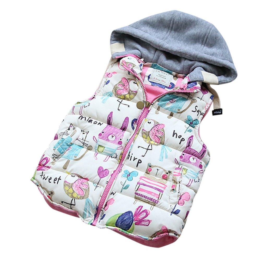 Princess Girls Autumn Winter Animal Graffiti Waistcoat Vest Outwear 120CM