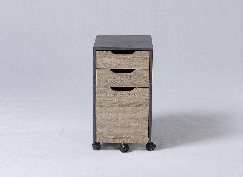 Homestar 3-Drawer Filing Cabinet, 13'' x 17.7'' x 23.6'', Reclaimed Wood/Java Brown