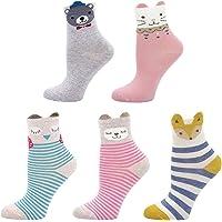 Calcetines de Algodón para Niñas Novedad Diseños Calcetines, Animalitos estampados con orejitas en relieve, 2-11 Años…
