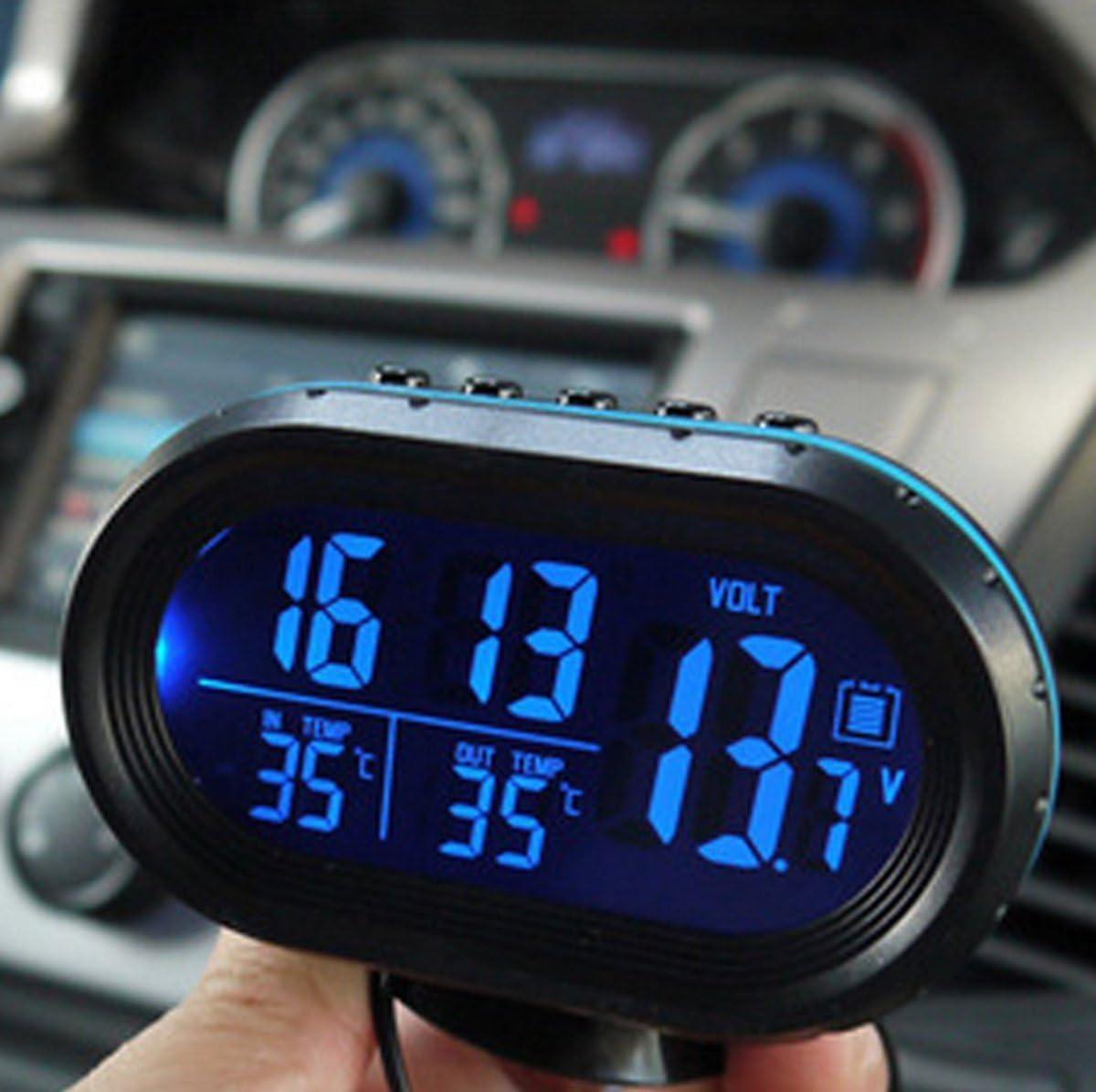 Car Indoor Outdoor Digital Clock LCD Voltmeter Temperature Meter Backlight Trim