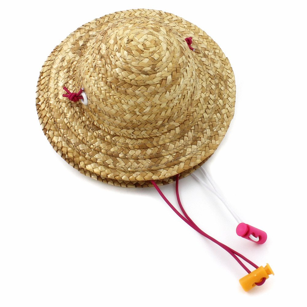 2 Packs Lovely Handcrafted Woven Straw Pet Hat Set Costume Cat Dog Hat Toy Hat Novelty Cosplay Farmer Hat w/ Adjustable Chin String