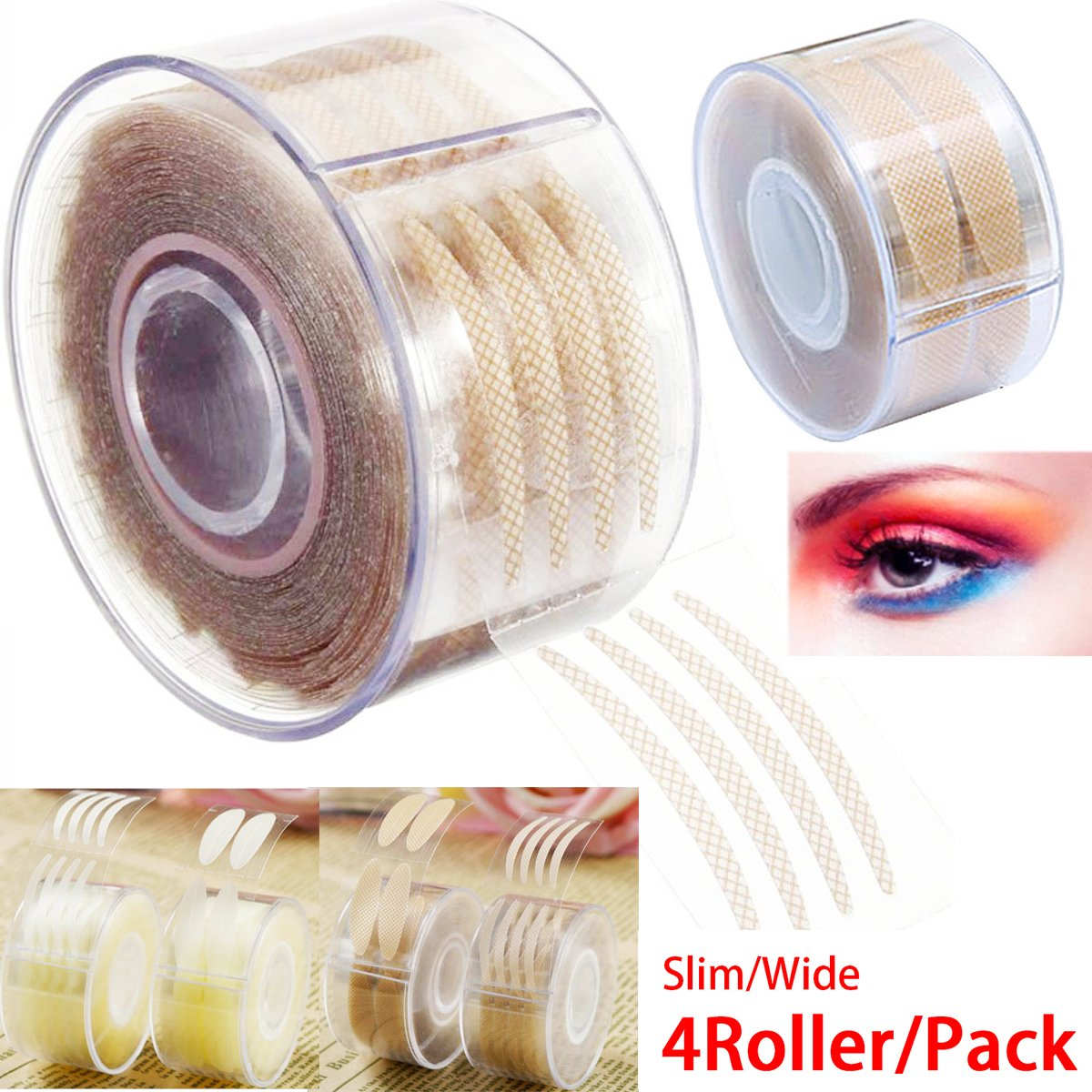 Eye tape double eyelid tape invisible eye stickers natural waterproof eye tape adhesive magic Charm big eye fiber glue tapes 4 Roller + Shaped Fork