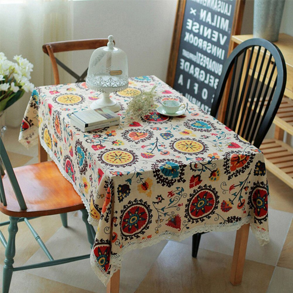 Amazon.com: Bringsine Vintage Rectangular Cotton Linen Lace Sun Flower  Tablecloth, Washable Tablecloth Dinner Picnic Table Cloth Home Decoration  Assorted ...