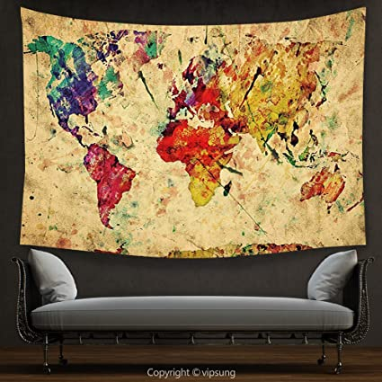 Amazon.com: House Decor Tapestry Retro Vintage World Map on Grunge ...