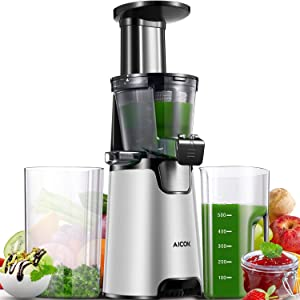 Slow Masticating Juicer, Aicok 2020 Upgraded Compact Cold Press Juicer Machine, Quiet Motor and Reverse Function, Easy to Clean, BPA-Free, with Brush and 3 Strainers for Fruits and Vegetables