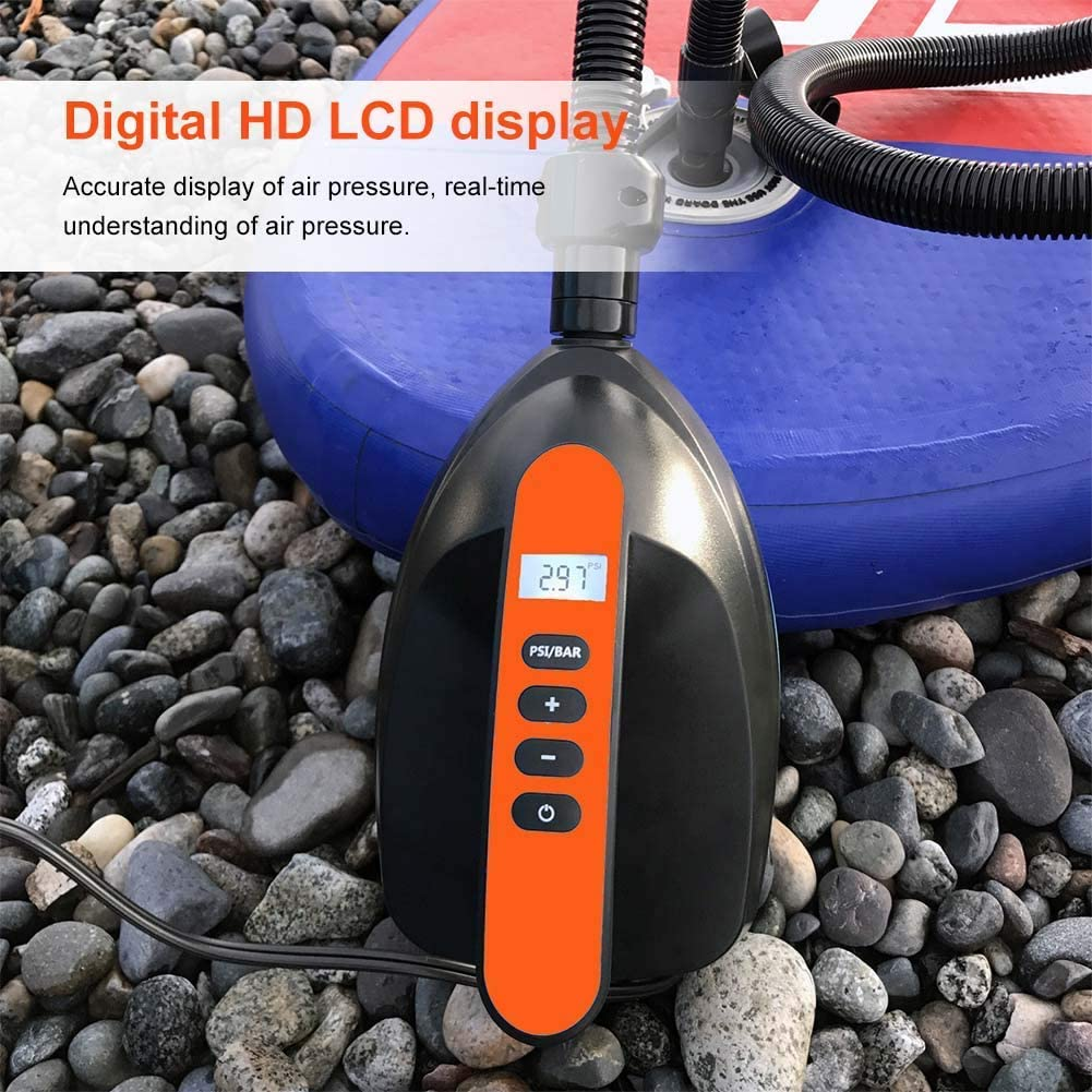 Lookit Like Portable Car Inflatable Pump High Pressure Electric Inflation Exhaust Air Pump with 6 Nozzles,LCD Display for Paddle Board,Kayak,Airbed,Swimming Pool