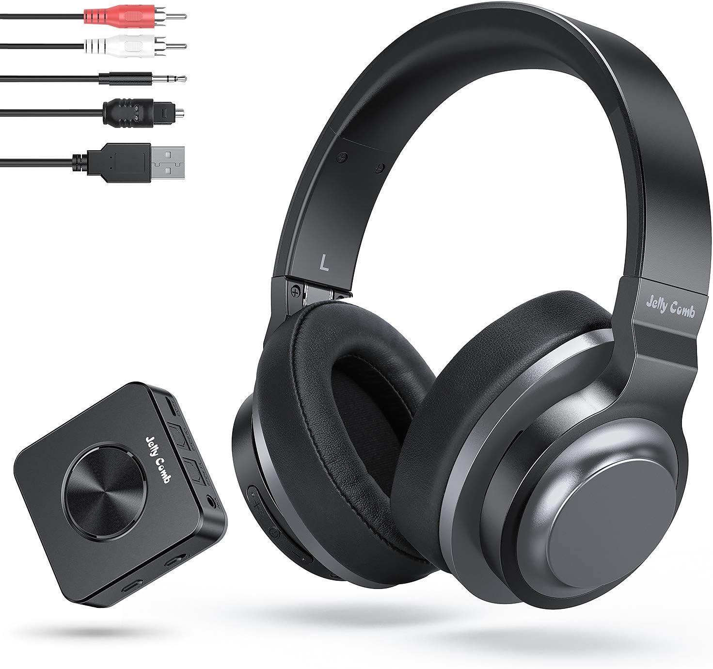 Jelly Comb Auriculares Bluetooth Inalámbricos Estéreo Recargables con Adaptador Bluetooth Transmisor y Receptor 2-en-1 (Digital Optical Aux RCA Pc USB) para TV / PC / Teléfono / iPad