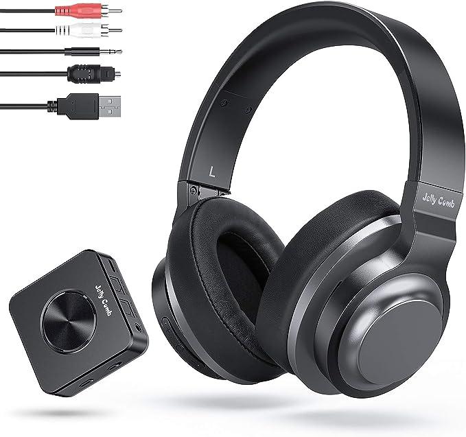 Jelly Comb Auriculares Bluetooth Inalámbricos Estéreo Recargables con Adaptador Bluetooth Transmisor y Receptor 2-en-1 (Digital Optical Aux RCA Pc ...