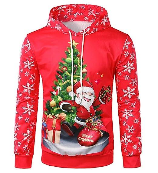a9e18b1a8eb5 Loalirando Noël Sweat à Capuche Homme 3D Imprimé Pull Drôle Créatif Coloré  Manches Longues Rouge