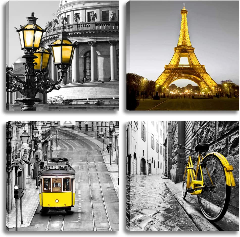 Deyixuan Eiffel Tower Canvas Wall Art-Paris City Bedroom Decoration-Gray and Yellow Picture Painting on Canvas-Frame Artwork for Living Room Bedroom Office Home Decoration( 12X12inchX4pcs)