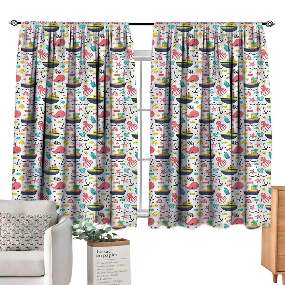 color06 55 Wx39 L WinfreyDecor Kids Insulated Sunshade Curtain Mouse Cat and Dog Cartoon Privacy Predection 55  Wx63 L