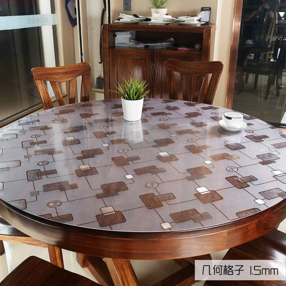 A1.5mm diameter 70cm Nclon Clear Pvc Table Predector Tablecloth, Plastic Vinyl Wipeable Round Waterproof Dining Table cover, Desk Mat Pad RoundA2.0mm diameter 130cm