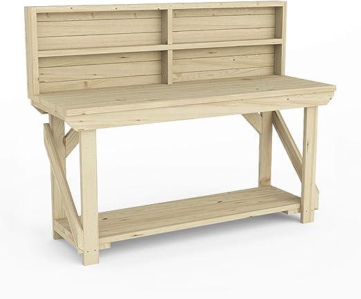 Banco de trabajo de madera con panel trasero: Amazon.es: Jardín