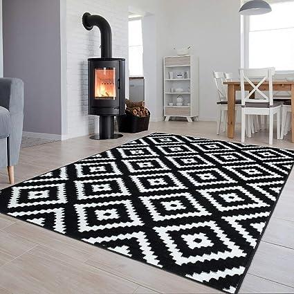 Tapiso Collection Luxury Tapis de Salon Chambre Moderne Couleur Noir Blanc  Motif Géométrique Facile d\'entretien Haute Qualité 200 x 300 cm