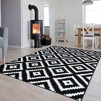 Tapiso Collection Luxury Tapis de Salon Chambre Moderne Couleur Noir Blanc  Motif Géométrique Facile d\'entretien Haute Qualité 140 x 200 cm