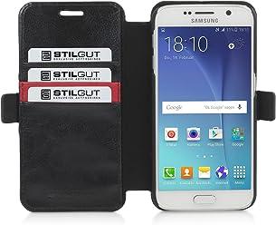 StilGut Talis, Custodia a Portafoglio con Funzione di Supporto per Samsung Galaxy S6, Nero