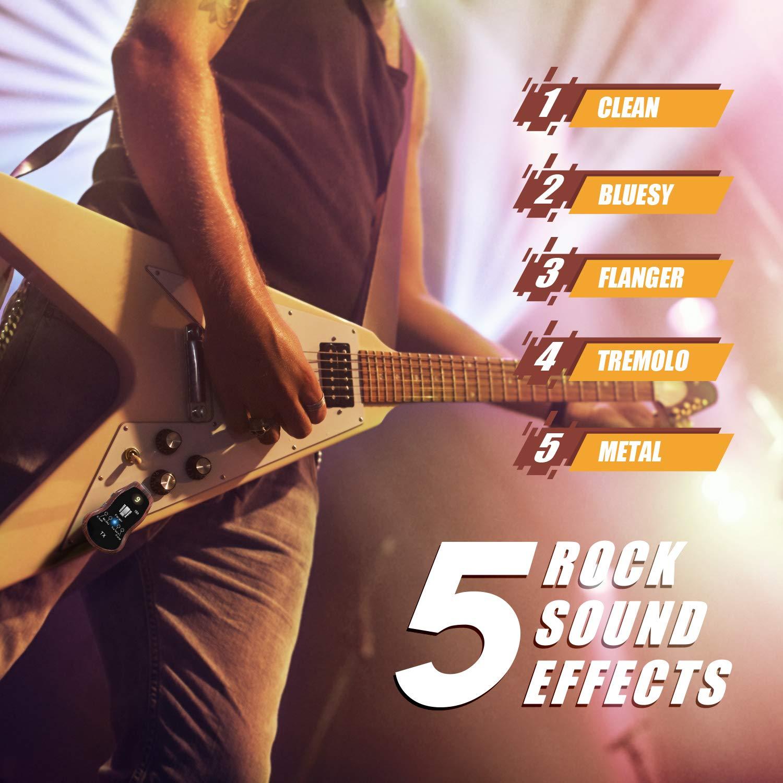 TONOR Sistema Inalámbrico Recargable de Guitarra con 10 Canales Inalámbrico Transmisor Receptor Bluetooth para Guitarra Eléctrica Bajo Cinco Efectos ...