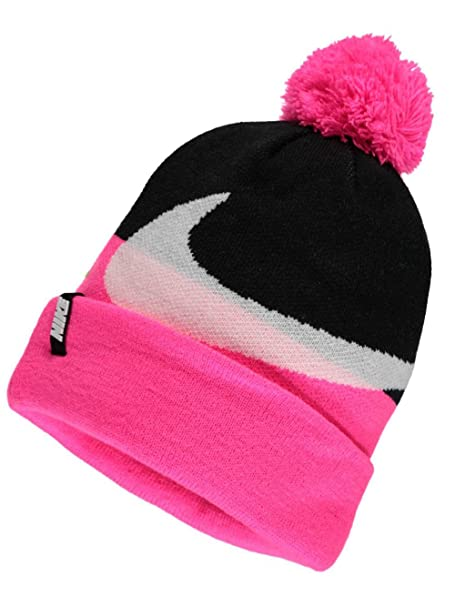 Amazon.com  Nike Swoosh Knit Beanie - Girls - Black Pink Pow  Sports ... 8f8d111363e