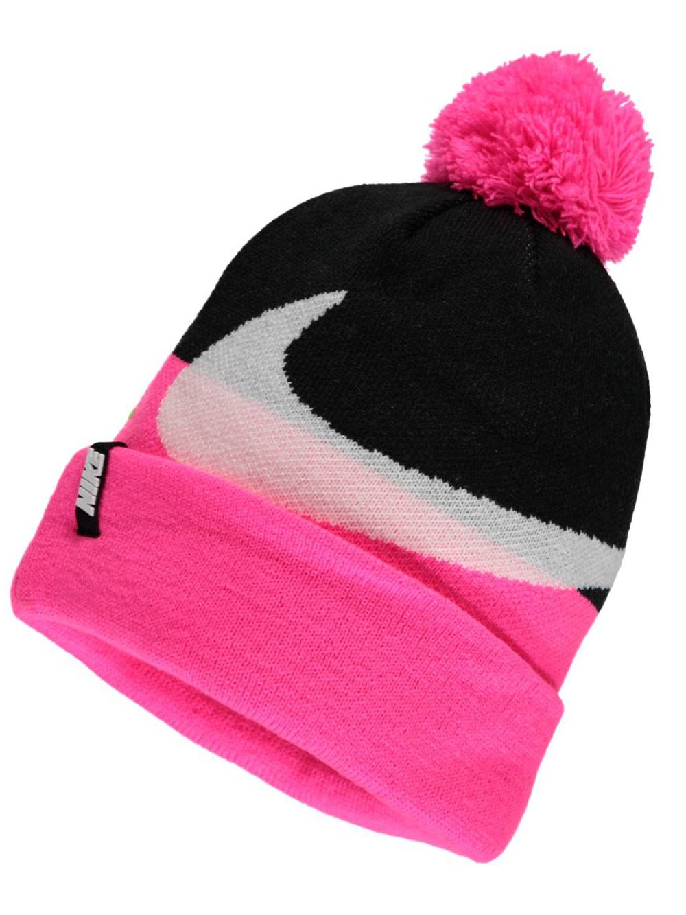 Nike Swoosh Knit Beanie - Girls - Black Pink Pow