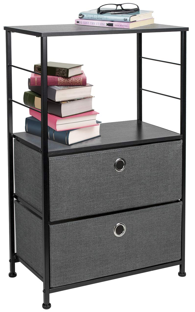 Sorbus Nightstand 2-Drawer Shelf Storage - Bedside Furniture & Accent End Table Chest for Home, Bedroom, Office, College Dorm, Steel Frame, Wood Top, Easy Pull Fabric Bins (Black/Charcoal)