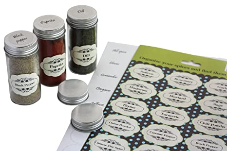 2 Sets Of Pre Printed Spices Stickers For Jar Container And Lids Plus Blank Labels For Diy 92 Pack By Royal Green
