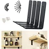 "URANMOLE Heavy Duty Floating Shelf Brackets 4 Inch - Rustic Black Iron Metal Wall Support for DIY Open Shelving - 4 Pack (6""x"