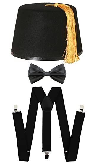 44158456096 BLACK FEZ + BOWTIE + BRACES FANCY DRESS ACCESSORY SET SPACE TIME DOCTOR  TRAVELLER COSPLAY OUTFIT