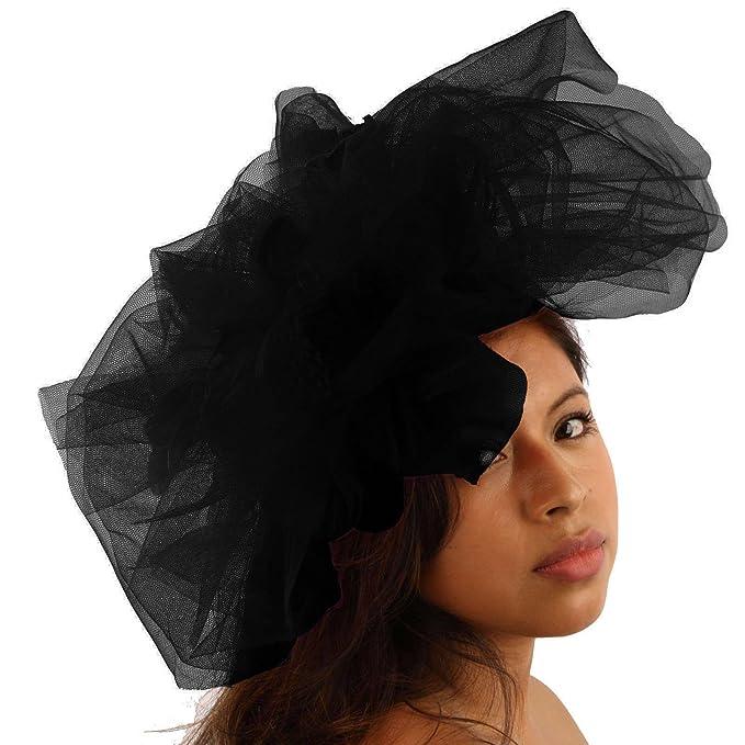 e0b560ddcca59 Big Tulle Mesh Feathers Fishnet Headband Fascinator Bridal Cocktail Hat  Black