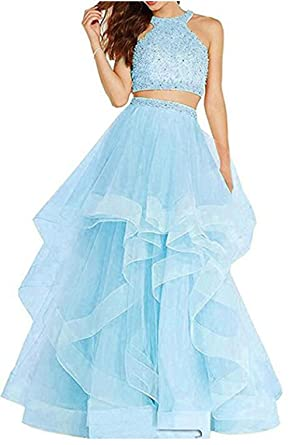 6b519f4c45b Sexy Two Piece Crystal Beaded Prom Dresses Long Tulle Formal Prom Ball Gowns  A Light Blue