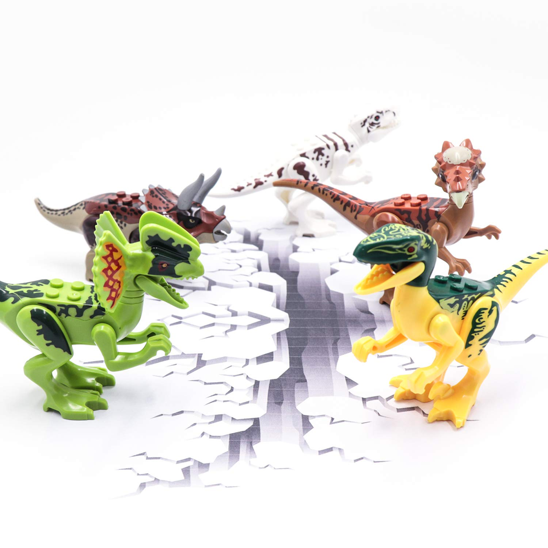 FRETOD Figurine Dinosaure 12 Pi/èces Compatible Blocs T/ête Mobile Jambe Bouche Dinosaure Blocs Figurine Cadeau Parfait pour Vos Enfants