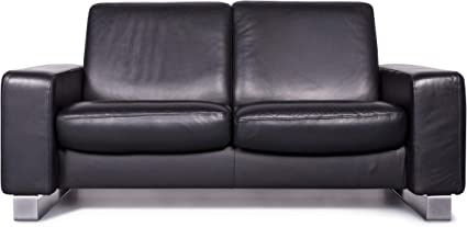 Stressless Space Designer Leather Sofa Black Genuine Leather Two Seater Couch Relax Sanaa Amazon Co Uk Kitchen Home