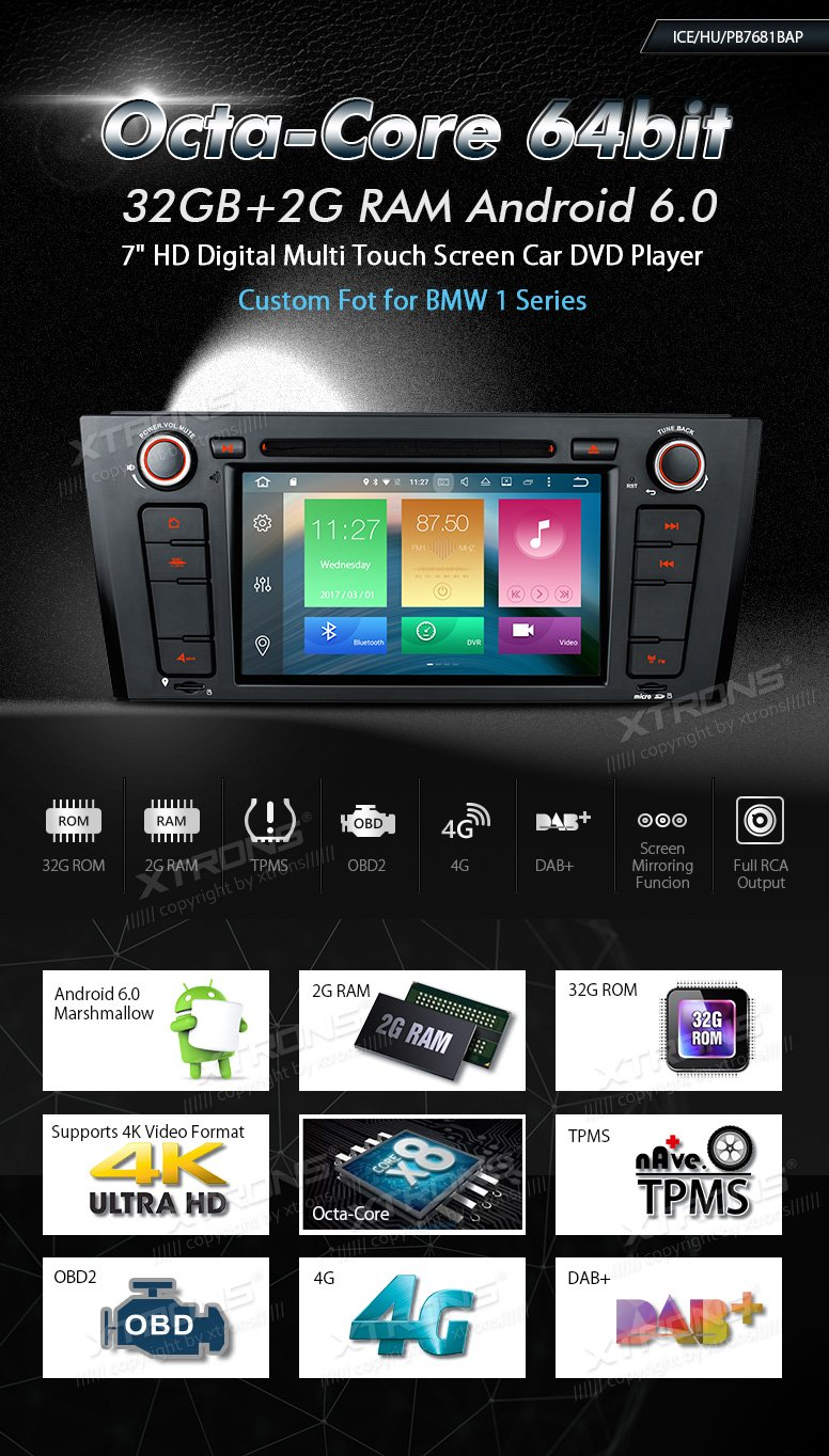 XTRONS Android 6.0 Octa-Core 64Bit 7 Inch Capacitive Touch Screen Car Stereo Radio DVD Player GPS CANbus Screen Mirroring Function OBD2 Tire Pressure Monitoring for BMW 1 Series E81 E82 E88 by XTRONS (Image #2)