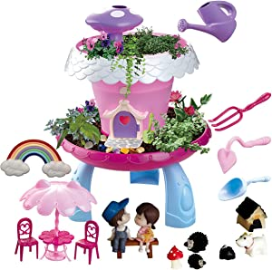 WOWToys Fairy Garden Kit Kids Gardening Set Indoor Outdoor Play Activity Gardening Tool Set Toys Kids Toddlers Girls Boys (Red has Music)