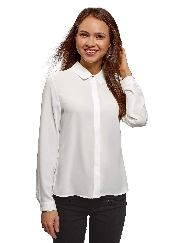 oodji Ultra Damen Bluse Basic aus Fließendem Stoff RIFICZECH s.r.o. 11400368-8B