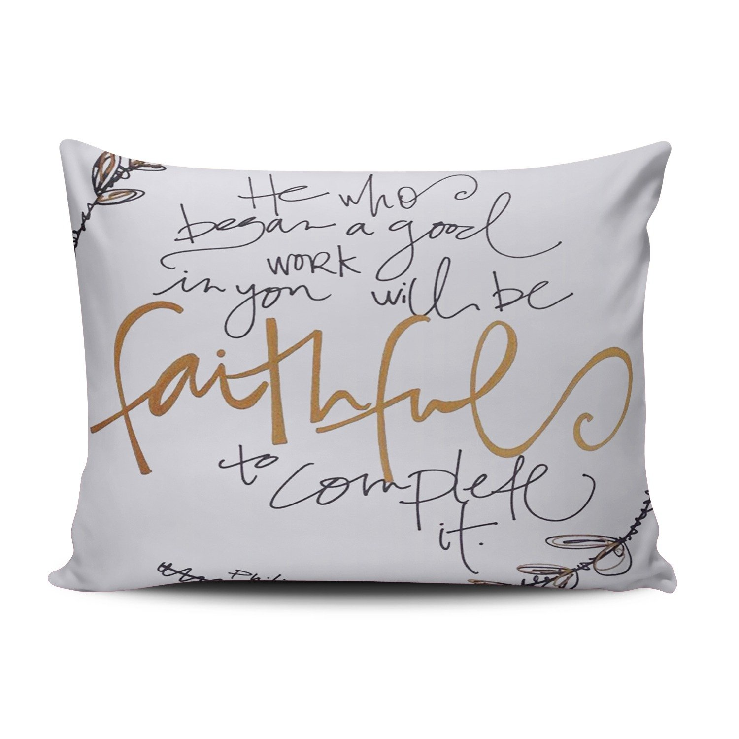 KEIBIKE Personalized Christian Bible Verse Rectangle Decorative Pillowcases Cute Zippered Queen Pillow Covers Cases 20x30 Inches One Sided