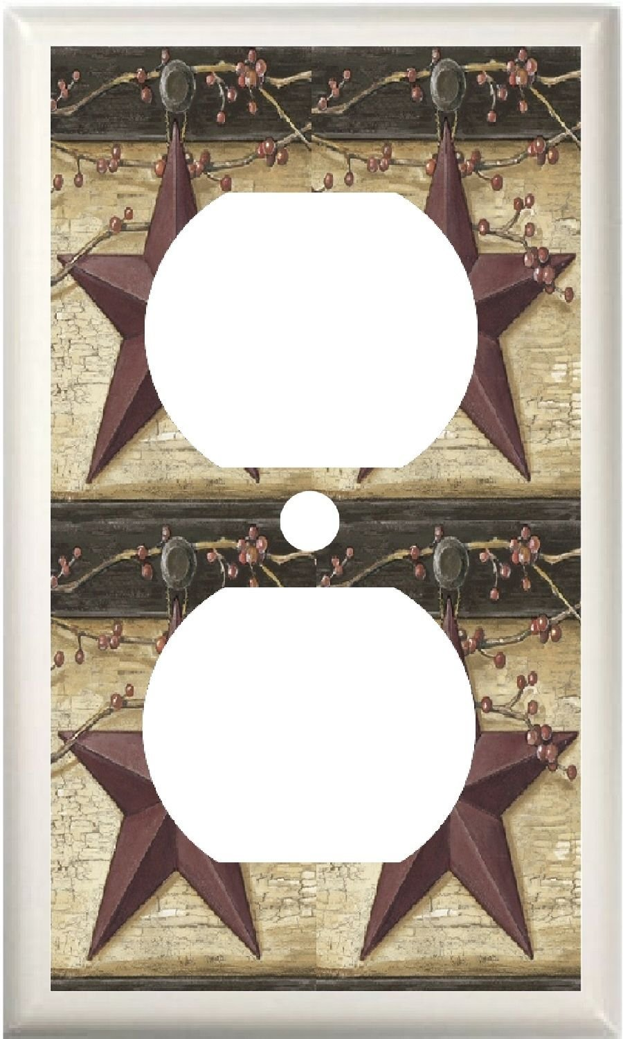 Got You Covered Country BARN Star & Berries Home Decor Light Switch Cover Plate OR Outlet (1X Outlet)