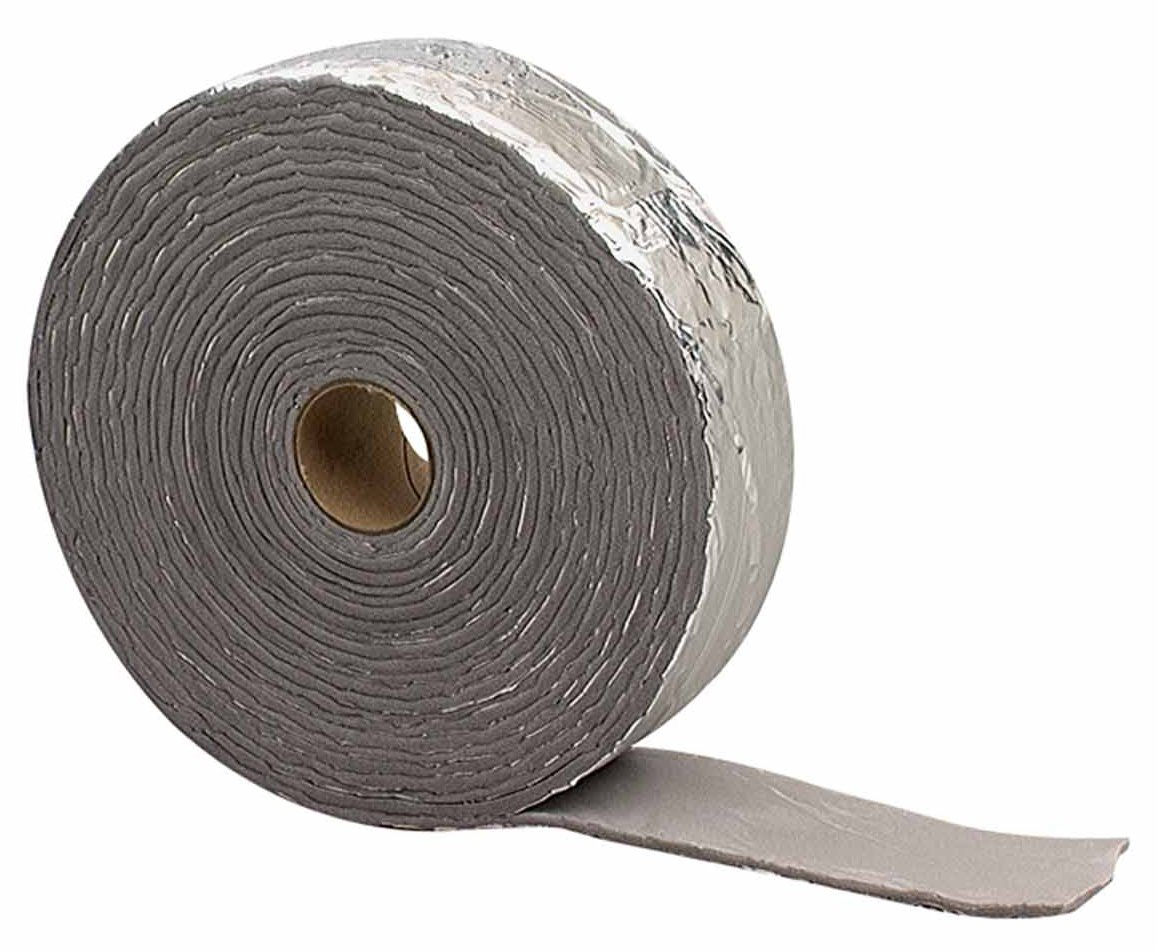 M-D Building Products 2378 M-D 0 Self-Adhesive Pipe Insulation Wrap 2 in Od X 15 Ft L X 1/8 in T, PVC Foam, Black/Silver
