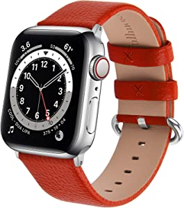 Fullmosa Watchband Compatible for Apple Leather Watch Band 38mm 40mm 42mm 44mm Stainless Steel Silver Buckle Women Men, Replacement Wristbands Strap for iWatch Series 6/SE/5/4/3/ 2/1, Edition, Sport Straps