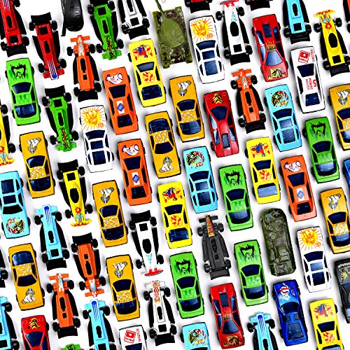 Prextex 100 Pc Die Cast Toy Cars Party Favors Easter Eggs Filler or Cake Toppers Stocking Stuffers Cars Toys For Kids (Car Plastic Toy)