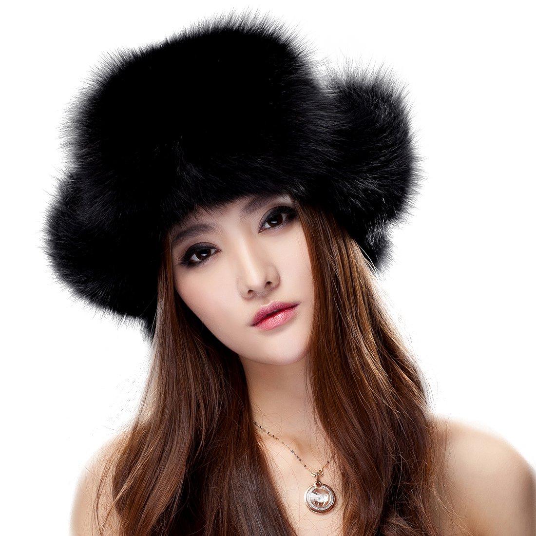 URSFUR Womens Black Fox Fur & Fabric Russian Ushanka Trapper Hat with Pom Poms
