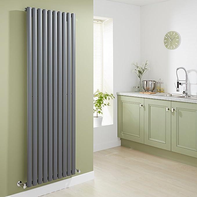 Milano Hudson Reed - Radiador de Diseño Vertical - Antracita - 1780mm x 590mm x 56mm - 1487 Vatios - Revive: Amazon.es: Hogar