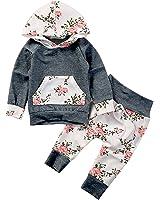 Baby Girls Long Sleeve Flowers Hoodie Top and...