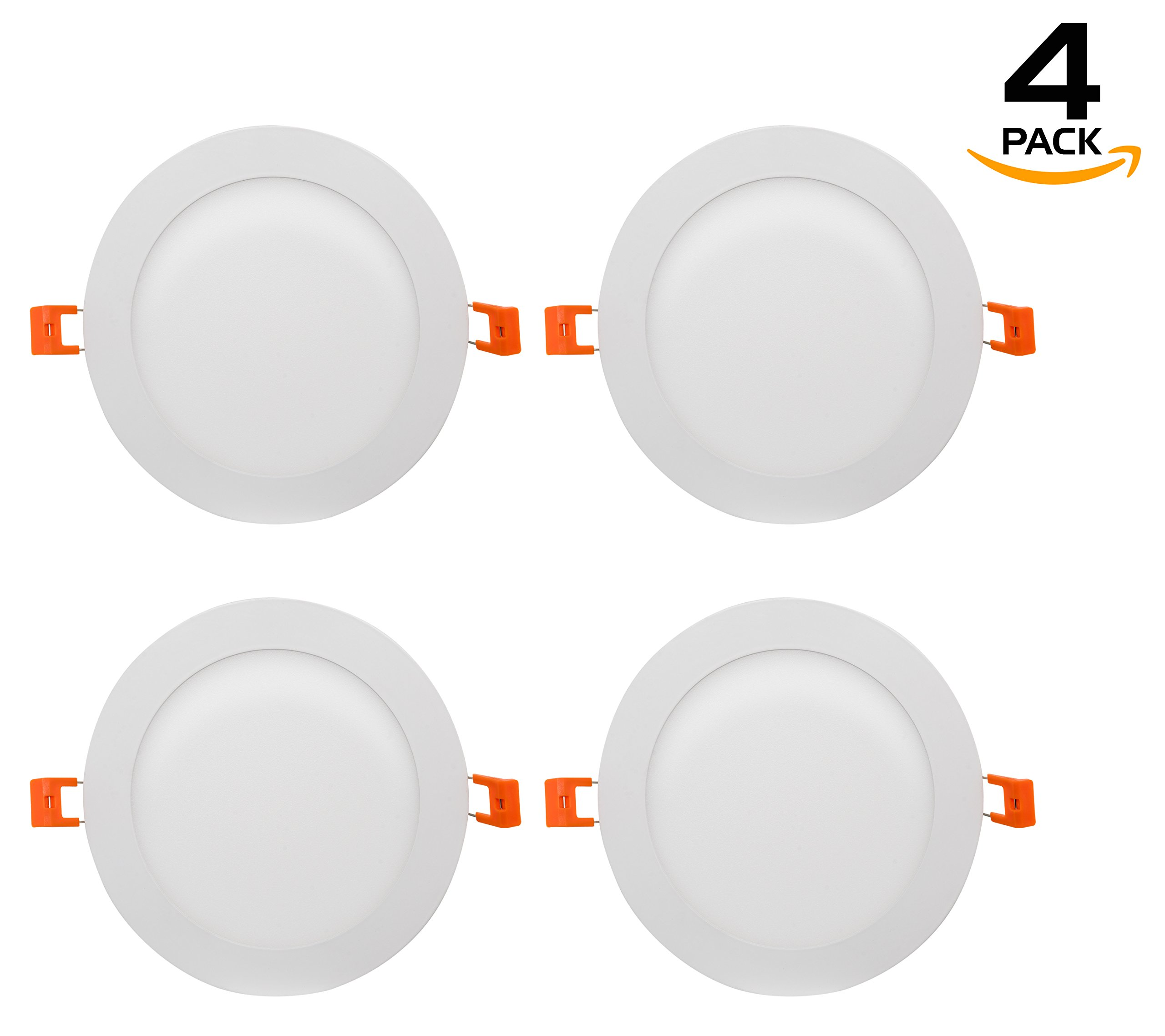 Westgate Lighting 15W 6'' Inch Ultra Thin Slim LED Recessed Light - Dimmable Retrofit Downlight Smooth Trim - Junction Box Included - No Housing Required - Ceiling Lights (4 Pack, 4000K Neutral White)