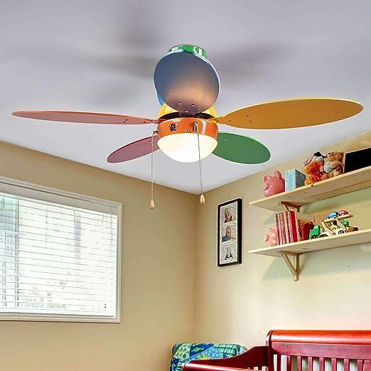 Ventilador de techo con lámpara Corinna en Varios colores hecho de Madera e.o. para Cuarto de los niños (1 llama, E14, A++) de LINDBY | Ventilador: Amazon.es ...