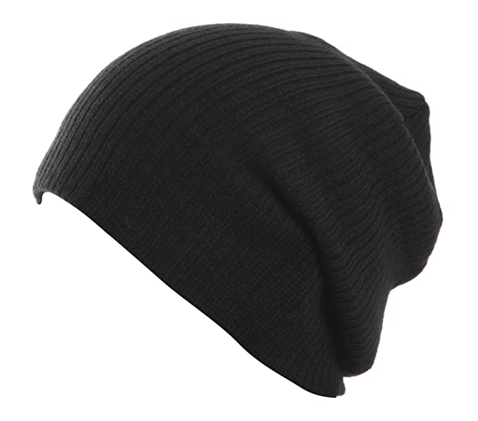 Image Unavailable. Image not available for. Color  Plain Black Slouch Beanie 4932ed74905